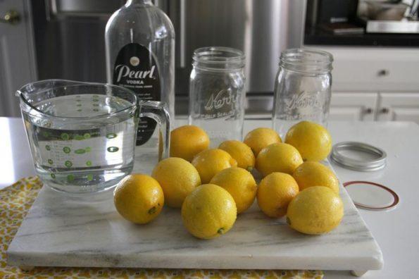 Лимоны, банки, водка