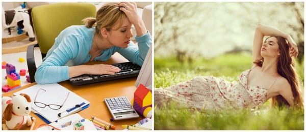 девушка устала на работе, девушка на траве
